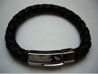 20837 Leather Bracelet with Stainless Steel Claps