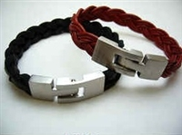 20838 Leather Bracelet with Stainless Steel Claps