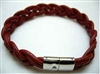 20840 Leather Bracelet with Stainless Steel Claps