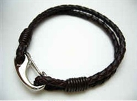 20845 Leather Bracelet with Stainless Steel Claps