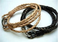 20846Leather Bracelet with Stainless Steel Claps