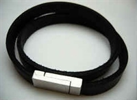 20847 Leather Bracelet with Stainless Steel Claps