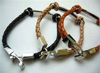 20850 Leather Bracelet with Stainless Steel Claps