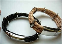 20851 Leather Bracelet with Stainless Steel Claps