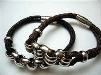 20855 Leather Bracelet with Stainless Steel Claps