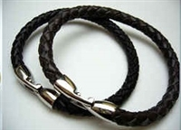 20857 Leather Bracelet with Stainless Steel Claps