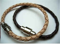 20862 Leather Bracelet with Stainless Steel Claps
