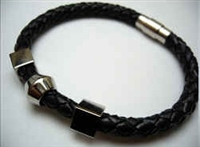20864 Leather Bracelet with Stainless Steel Claps