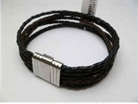 20877 Leather Bracelet with Stainless Steel Claps