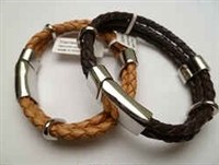 20884 Leather Bracelet with Stainless Steel Claps