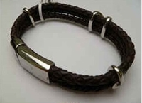 20885 Leather Bracelet with Stainless Steel Claps