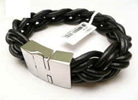 20890 Leather Bracelet with Stainless Steel Claps