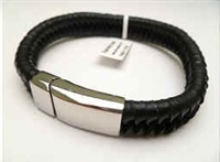 20893 Leather Bracelet with Stainless Steel Claps