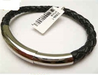 20899 Leather Bracelet with Stainless Steel Claps