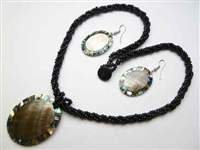 30391-26 Sea Shell Pendant w/Sea Beads Necklace & Earring Set