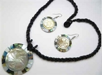 30391-5 Sea Shell Pendant w/Sea Beads Necklace& Earring Set