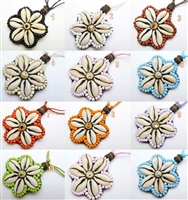 30402 45mm Sea Shell Flower Adjustable Double Cord Necklace