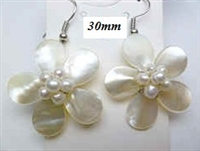 33323-1 30mm MOP Flower with Pearls Earring