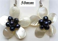 33323-50 50mm MOP Flower with Pearls Earring