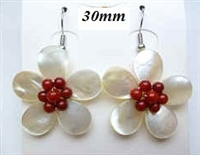33323-6-12 30mm MOP Flower with Stone Earring