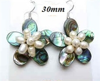 33325 30mm Abalone Flower w/Pearls Earring