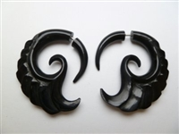 33363 40mm Buffalo Horn Carving Earring