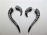 33364 40mm Buffalo Horn Carving Earring