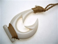 35058 Buffalo Bone Fish Hook Necklace