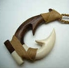 35065-1 Buffalo Bone Fish Hook w/Wood Necklace