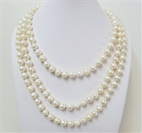 9-10mm genuine round fresh water pearl necklace 60""