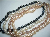 38018 9-10mm Rice Shape Fresh Water Pear Necklace 18""