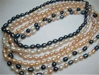 38031 7-8mm Rice Fresh Water Pearl Necklace 18""