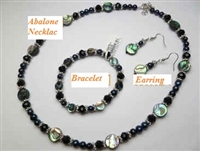 38055 Round Abalone Shell w/fresh Water Pearl Collection Set
