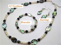 38056 Oval Abalone Shell w/fresh Water Pearl Collection Set