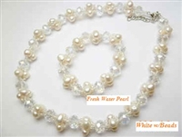 38074Set Fresh Water Pear Necklace w/Bracelet Set