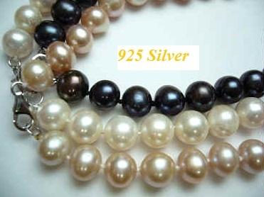 38402 9-10mm Round Fresh Water Pearl w/925 11mm Lobster