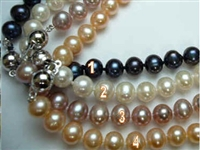 38403 8-9mm Potato Fresh Water Pearl w/925 8mm Silver Ball Claps