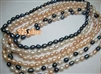 "38406 7-8mm Rice Shape Fresh Water Pearl Necklace 18"" w/925 Silver 11mm Claps"