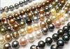 "38408 10mm MOP Shell pearl Necklace 18"" w/925 Silver Claps"