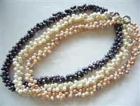 "38410 Double Twist Fresh Water Pearl Necklace 18"" w/925 Silver Claps"