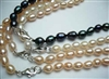 "38417 5-6mm Rice Fresh Water Pearl Necklace 18"" w/925 Silver 9mm Claps"