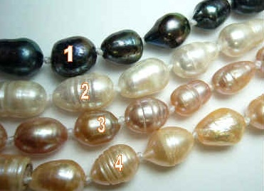 "38418 9-10mm Rice Fresh Water Pearl Necklace 18"" w/925 Silver 11mm Claps"