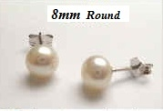 43174 8mm Round Fresh Pearl w/925 silver Earring