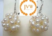 43187 16mm Round Fresh Water Pearl Ball Earring w/925 Silver Hook