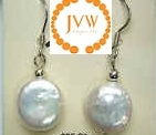 43190 11-12mm Coin Fresh Water Pearl Ball Earring w/925 Silver Hook