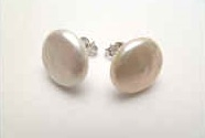 43201 11mm-12mm Coin Fresh Pearl w/925 silver Earring
