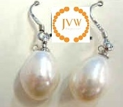 43222 Long Fresh Water Pearl Earring w/925 Silver Hook