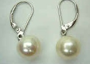 43229 10mm Round Fresh Water Pearl w/925 silver lever back Earring