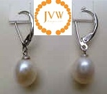 43230 9-10mm Rice Fresh Water Pearl Earring w/925 Silver Hook