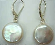 43231 14-15mm Coin Fresh Water Pearl w/925 silver lever back Earring